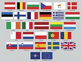 European Union 27 national flags plus NATO and EU