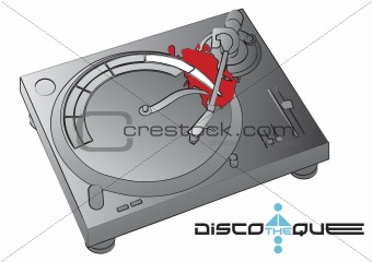 Turntable with discotheque logo