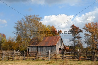Abandoned Barn with Fenced in Yard