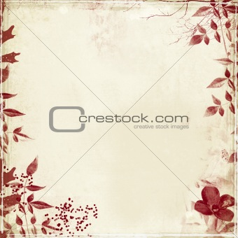 grunge backdrop with flower/foliage detail