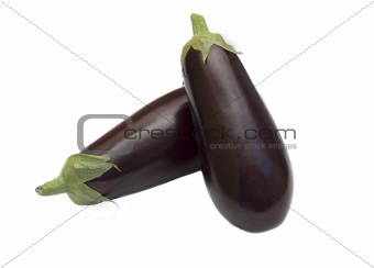 three aubergine on white background