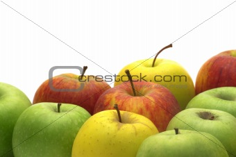 fresh apples on white background
