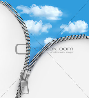 Abstract background with zipper and cloudy sky. Vector.
