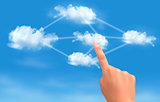 Cloud computing concept. Hand touching connected clouds. Vector.