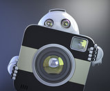 Android robot holding squared photo camera