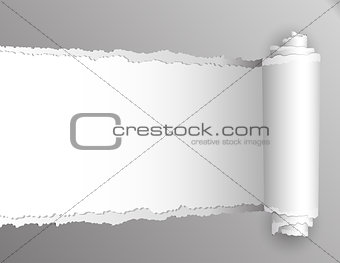 Torn paper with opening showing white background.