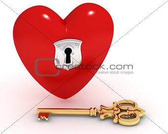 Closed heart and key