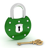 Old green padlock and gold key