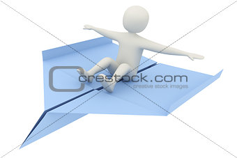 3d man flying on airplane
