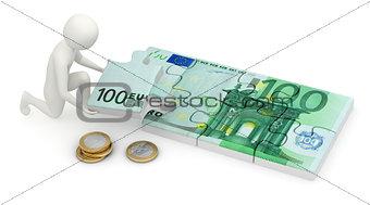 3d man assembling euro puzzle