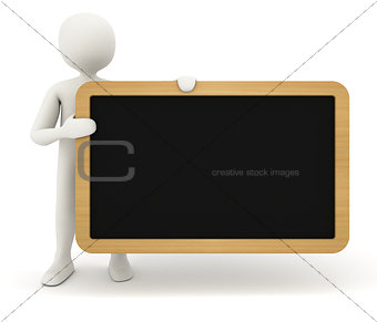 3d man showing blank black table