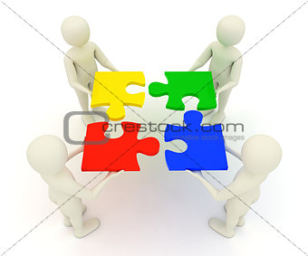 3d men holding assembled jigsaw puzzle pieces