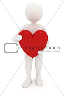 3d man holding heart