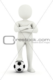 3d man holding foot on soccer ball