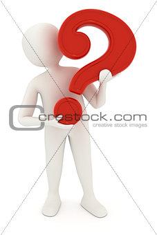 3d man holding question mark