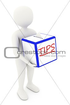 3d man holding box with tips