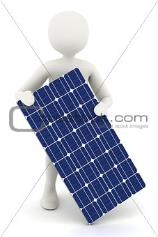 3d white man holding solar panel