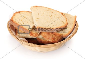 Sliced bread in small basket