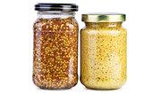 Glass jars with mustard