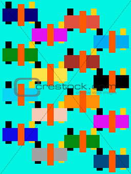 Aimless-color abstract composition with  geometrica figures on l