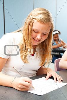 Confident Teen Girl Taking Test
