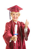 Elderly Graduate Gives Thumbs Up