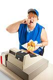 Fast Food Worker Sneezing on Meal