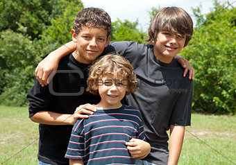 Portrait of Three Boys Smiling