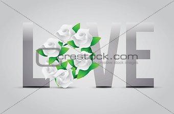 grey color Love flowers illustration designs