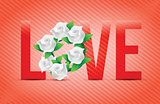 red color Love flowers illustration designs