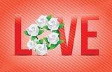red color Love flowers illustration designs
