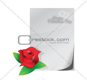 valentine red rose love letter illustration design
