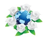 white roses bouquet and globe illustration