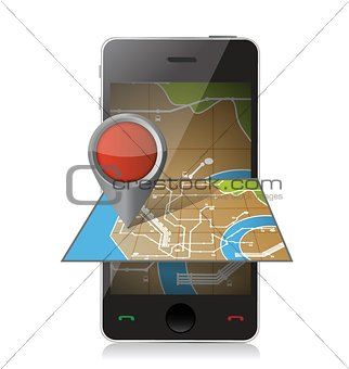 smart phone navigation. mobile gps illustration