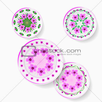 A set of plates with floral pattern