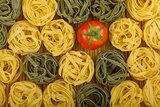 Italian colors pasta with tomato
