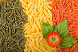 Pasta Italian flag with tomato and basil