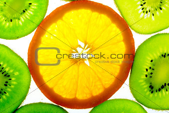 One orange slice with many kiwi slices