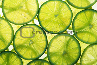 Green lime slices in many layers