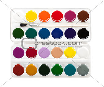 Paint palette with brush
