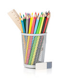 Various colour pencils with ruler and rubber