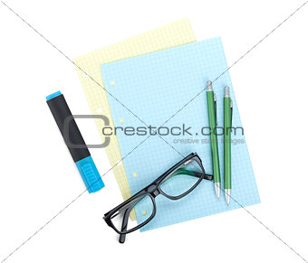 Office supplies and glasses