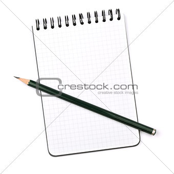 Black pencil on notepad