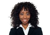 Closeup of portrait of smiling businesswoman