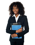 Smiling confident female executive