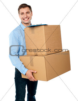 Kindly accept the delivery of boxes