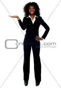 Corporate woman presenting copyspace