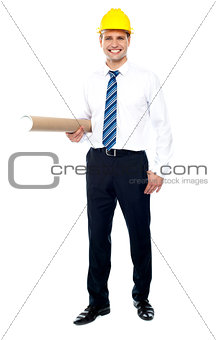 Civil engineer holding blueprint