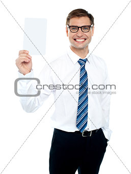 Corporate male holding blank white card