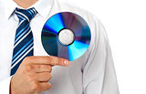 Closeup of a man holding compact disc